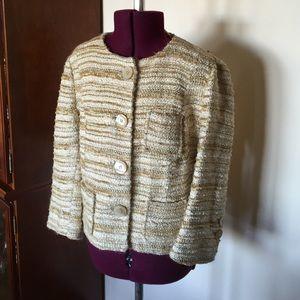 Zara Woman Beige Yellow Gold Tweed Jacket 4