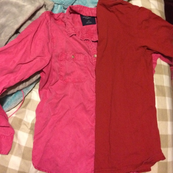 American Eagle Outfitters Pink Button Up Shirt From