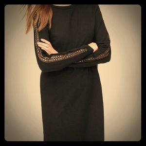 🎉HP- NWT LOFT Black Lacy Sleeve Sweatshirt Dress