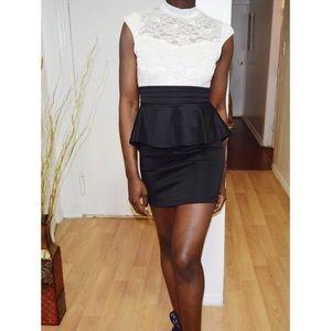 Dresses & Skirts - Ivory Lace Open-Back Peplum Dress