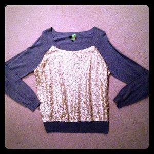 a.n.a Sweaters - Grey Sequined Sweater