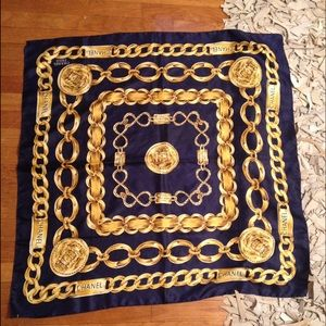 Navy & Gold Vintage Chanel Scarf