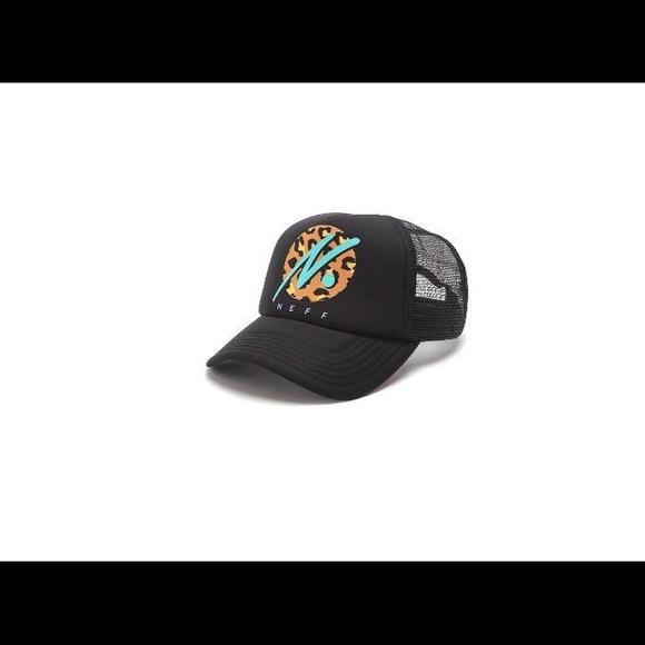 36fd44632ed30 NEFF RUN WILD LEOPARD CIRCLE PRINT TRUCKER HAT CAP