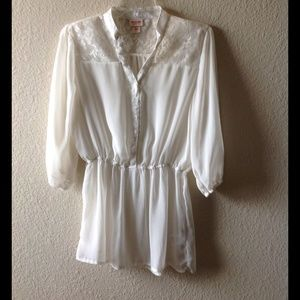 Ivory gathered waist top