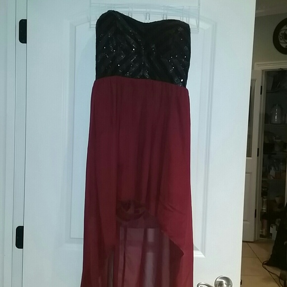 beaf93def2 Dresses   Skirts - Black sequin and maroon high low dress