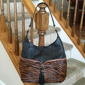 Aqua Madonna  Handbags - **WAS $160**  Black/Leopard leather Large Hobo