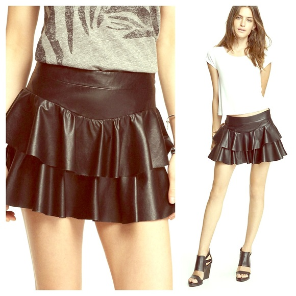 76% off Express Dresses & Skirts - 😘 Black Faux Leather Tiered ...