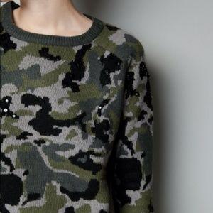 Zara Camouflage Sweater Small