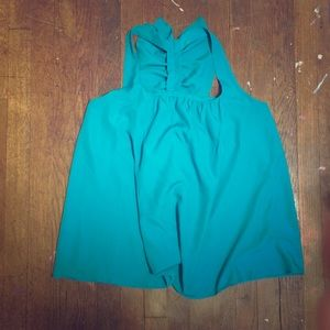 jcpenney Tops - Turquoise tank with ruffled back