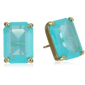 kate spade Turquoise Emerald Cut Stud Earrings