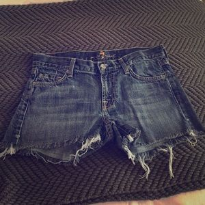 7 for All Mankind denim destroyed shorts