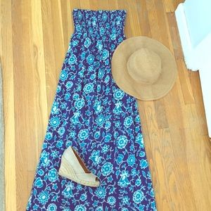 Cobalt floral maxi dress sundress BNWT