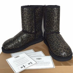 NEW Authentic UGG Glitter Leopard Short Boots