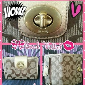 Authentic Coach wallet in brown and gold color