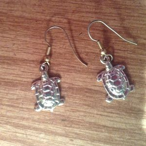 Gold colored turtle earrings