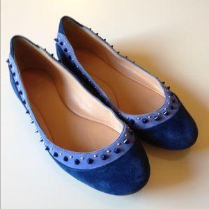 Belle by Sigerson Morrison Shoes - Blue Studded Belle Flats