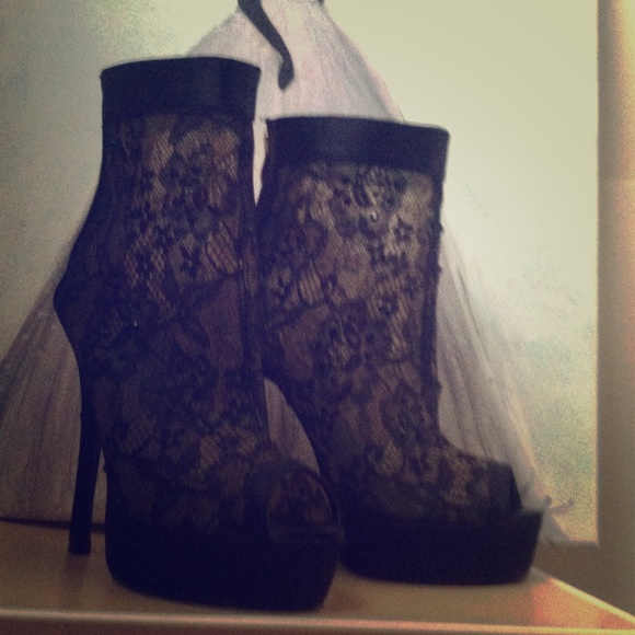 Lace Pencil Heels From Elsa's Closet On Poshmark