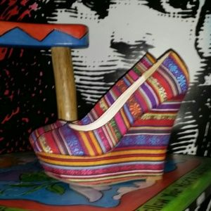 Shannon Colorful Tribal Platform Wedges