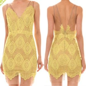 M-L Yellow and nude lace dress with mesh accent.
