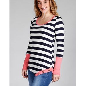 """Heart It"" Striped Top with Button Detail"