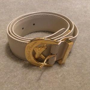 Paloma Picasso Creme Leather Belt