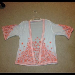 Embroidered kimono ivory/bright orange