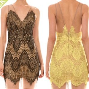 S-L Black and nude lace dress wit mesh accent.