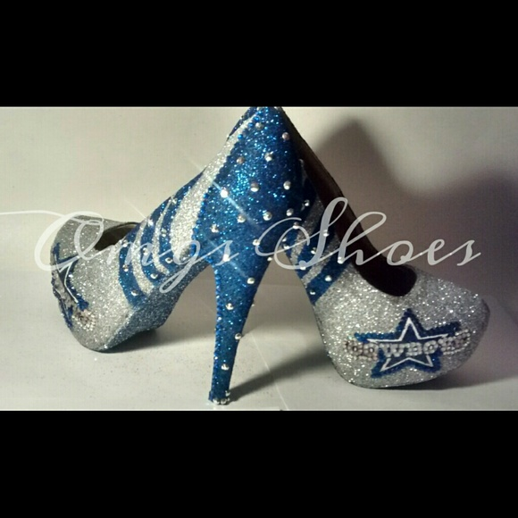 45ce41d9a05ad4 ... Shox Dallas Cowboys custom Nike Air Max custom Shoes - Sale Custom Dallas  Cowboys Glitter Heels Size 8 . ...