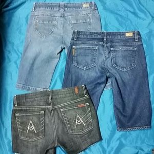 3 pairs of shorts Paige Premium + 7 for all sz 29