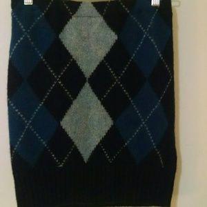 Navy blue sweater pencil skirt