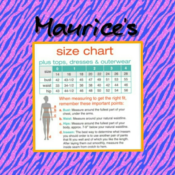 Maurices maurice s size chart from siren s closet on poshmark