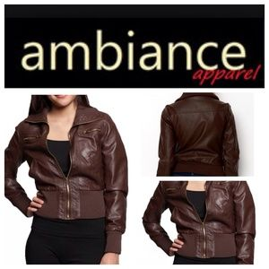 Ambiance Apparel Jackets & Blazers - Brown Leather Bomber Jacket