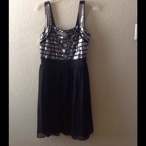 Silver sequin bodice, black chiffon dress