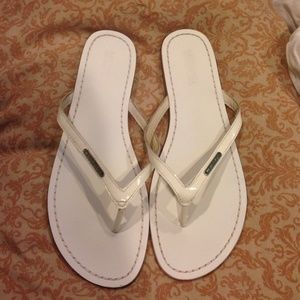 Michael kiors all white leather sandals