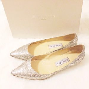 Jimmy Choo Shoes - 🆕Jimmy Choo Alina Champagne Glitter Flats 37.5