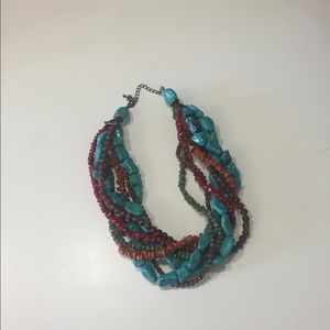 Jewelry - Turquoise, brown, red bead necklace