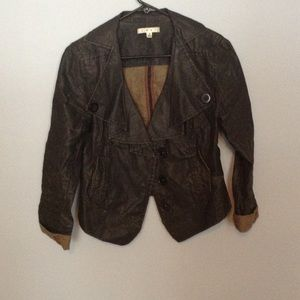 Cropped Military Style Jean Jacket