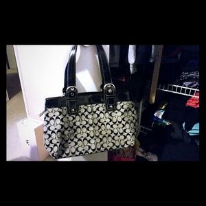 Coach Black Signature Large Tote