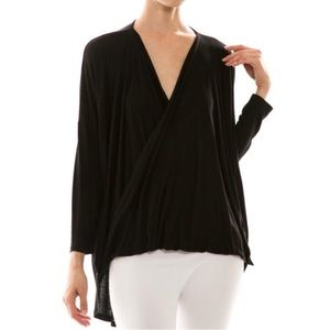 "Bare Anthology Tops - ""Maiden"" Faux Wrap Black Top"