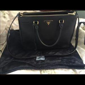 c8e6902bf780 Prada Bags - Prada Saffiano Lux Black Nero Leather Dbl Zip