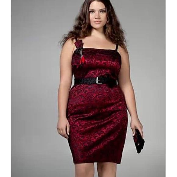 78% off torrid Dresses & Skirts - Torrid Red Brocade Dress size 14 ...