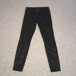 bebe Denim - Coated Moto Skinnies by BEBE