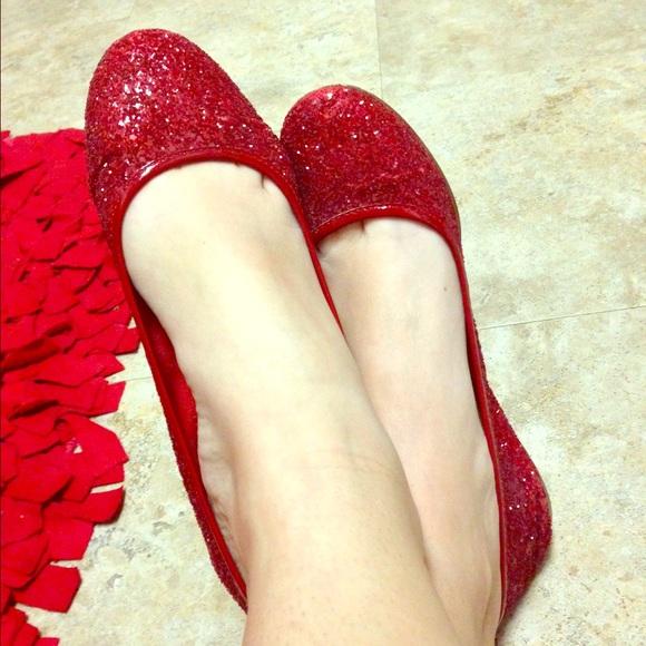 J Crew Red Glitter Ballet Flats