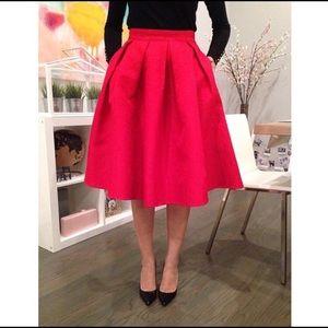 Dresses & Skirts - Jacquard pleated red midi skirt