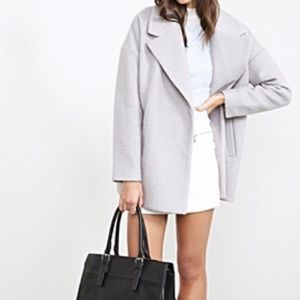 Forever 21 Outerwear - Light Grey Oversized Boucle Coat