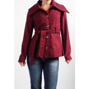 BB Dakota Bennis Syrah Red Belted Coat