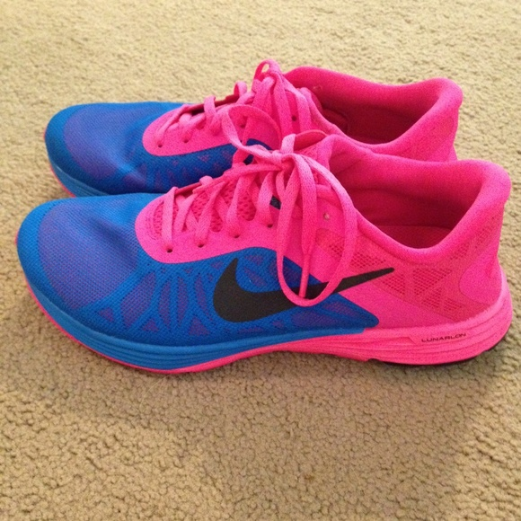 Nike Lunar Launch neon pink and blue shoes
