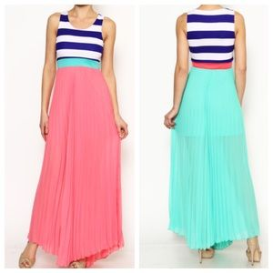 Striped & Pleated Maxi Dress {Coral, Mint}
