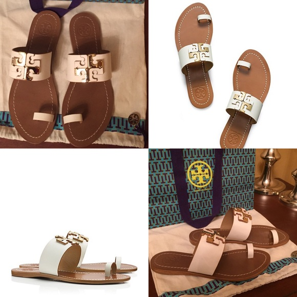 e49258911 TORY BURCH Lowell Flat Slide Sandals Ivory