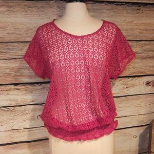 IZOD Tops - New Izod Pink Crochet BOHO Top L
